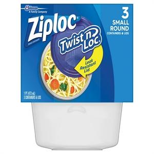 Ziploc Twist n Loc Small Round Bowls with Lids 16 oz 3 ct