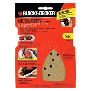 Black & Decker Assorted Finishing Detail Sandpaper with Tips 5-ct.