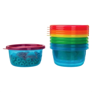 The First Years Take & Toss Toddler Bowls with Lids - 8oz, 6 pack, Multi-Colored