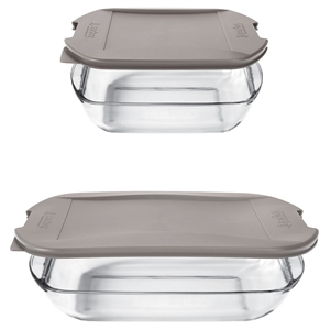 Anchor Embrace Glass Bake Set with Lids- Clear/Red