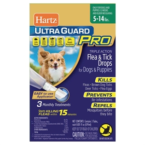 Hartz UltraGuard Pro Flea and Tick Treatment Drops for Dogs and Puppies Weighing 5-14lb - 3 Count