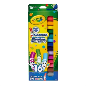 Crayola Pipsqueaks Markers, Washable, 16ct - Assorted Colors, Multi-Colored