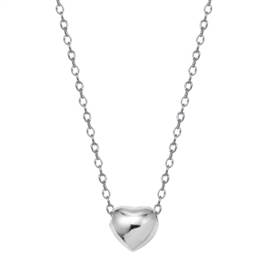 Sterling Silver Heart Pendant - Silver, Women's, Natural