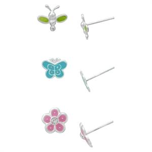 Girls' Sterling Silver 3 Pr Butterfly Stud Earring Set-Yellow/Green/Pink, Girl's, Silver/Green/Pink/Blue