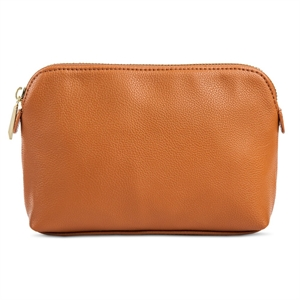 Women's Faux Leather Clutch Handbag with Zip Closure Butternut Wood - Merona