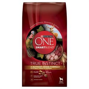 Purina One SmartBlend True Instinct with Real Turkey & Venison Adult Premium Dry Dog Food 27.5lb Bag, Burmese Beige