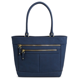 Women's Faux Leather Timeless Collection Tote Handbag Navy (Blue) - Merona