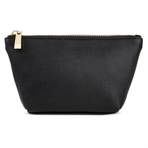 Women's Faux Leather Clutch Handbag with Zip Closure Black - Merona