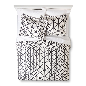Handrawn Geo Duvet Cover Set White/Navy (King) - Nate Berkus, Blue White