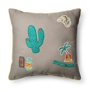 """Badges Decorative Throw Pillow (16""""x16"""") Gray - Pillowfort"""