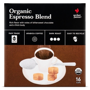 Organic Espresso Blend Coffee  Single Serve Pods 16 ct  Archer Farms