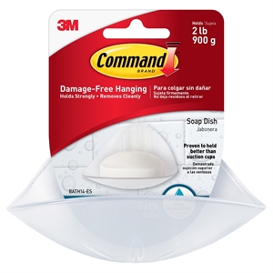 Command - Soap Dish with Water-Resistant Strips - Frosted White