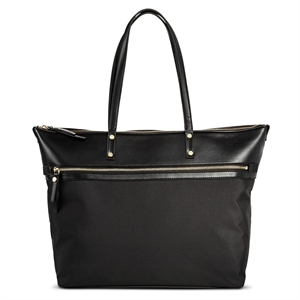 Women's Solid Nylon Work Tote with Faux Leather Trim Black - Merona, Size: Large
