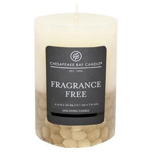 """Fragrance Free Pillar Candle Ivory/Gold (4""""x3"""") - Chesapeake Bay"""