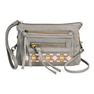 Women's Faux Leather Wristlet with Crossbody Strap Grey - Mossimo Supply Co.