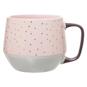 Clay Art Tapered Base Mug 15oz Stoneware Pink with Gold Dots, Light Pink