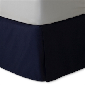 Navy (Blue) Xavier Wrinkle-Resistant Cotton Bedskirt (King) - Threshold