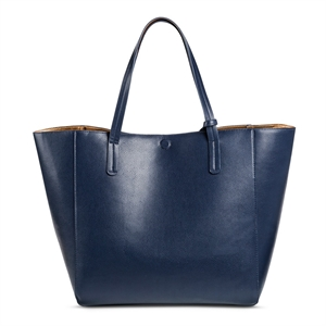 Women's Faux Leather Reversible Tote Handbag Navy (Blue) - Merona