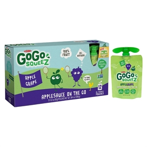 GoGo squeeZ Applesauce On The Go Apple Grape Pouches 3.2 oz 12 ct