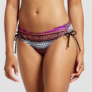 Women's Side Tie Bikini Bottom - Coral Multi Stripe - L - Mossimo, Size: Medium