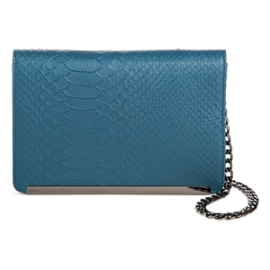 Women's Faux Leather Crossbody Handbag Lizard Design and Magnetic Closure Blue - Mossimo Black