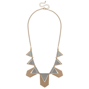 Women's Statement Necklace with Metal Arrow Paddles and Triangle Cut Outs- Multi, Multi-Colored