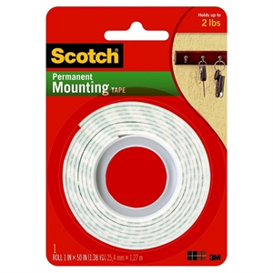 """Scotch Permanent Mounting Tape, 1"""" x 50"""" - 1ct, None"""