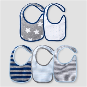 Baby Boys' 5 Pack Star Bib Set Baby Cat & Jack - Navy/Heather Grey, True Navy