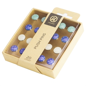 Ubrands Thumb Tacks with Patterns - 20ct, Multi-Colored