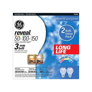 GE Reveal 50/150-Watt 3-Way Long Life Incandescent Light Bulb (2-Pack)