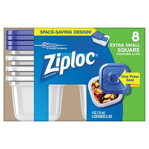 Ziploc Square Extra Small 8ct Container, Clear