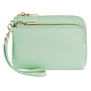 Women's Faux Leather Clutch Handbag with Zip Closure Peacock - Merona