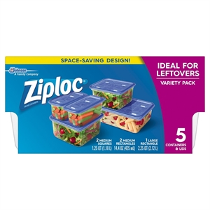 Ziploc Leftovers Variety Pack Containers 5ct, Blue