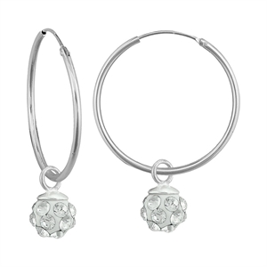 Girls' Sterling Silver Hoop with Crystal Ball Dangle Earring-4.5Mm-Clear, Girl's