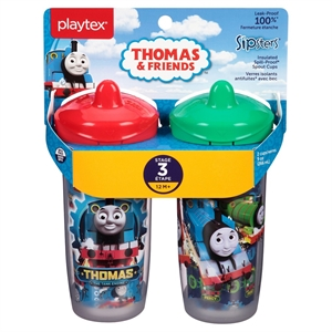 Playtex Sipsters Thomas & Friends Stage 3 Insulated Spout Sippy Cups 9oz 2 Pack, Multi-Colored