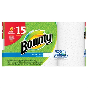 Bounty Select-A-Size White Paper Towels 6 Huge Rolls
