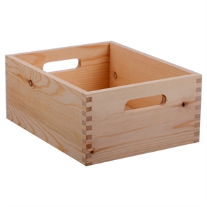 """Hand Made Modern Small Wood Crate, Square - 5 x 12"""" x 9"""", Natural"""