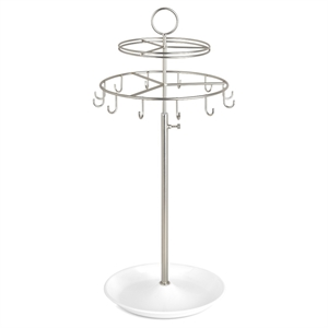 Loft by Umbra Spinner Jewelry Stand - Nickel, White