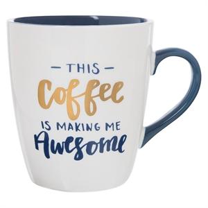 """Clay Art Jumbo Mug 27oz Porcelain - """"This coffee is making me awesome"""", White"""