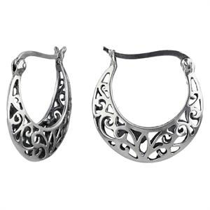 Women's Hoop Earring Sterling Silver with Open filigree Design - Silver