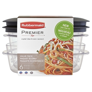 Rubbermaid Premier Food Storage Containers, 6-Piece Value Pack, Washed Violet