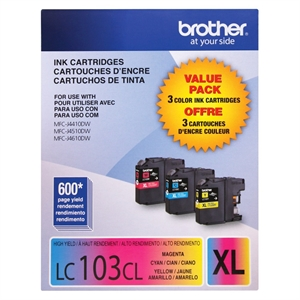 Brother High Yield Color Ink Cartridge 3 Pack - Multicolor (LC1033PKC), Multi-Colored