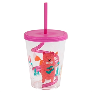 Animals 15oz. Cup with Swirly Straw Pink - Circo