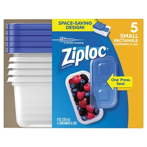 Ziploc Small Rectangle Containers 5ct, Blue