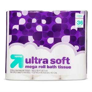 Ultra Soft Bathroom Tissue - 9 Mega Rolls - up & up
