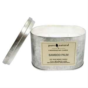 Tin Container Candle - Bamboo Palm - Pure & Natural by Chesapeake Bay, Silver