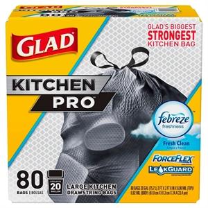 Glad ForceFlex Kitchen Pro Drawstring Trash Bags Fresh Clean 20 gal 80 ct, Black