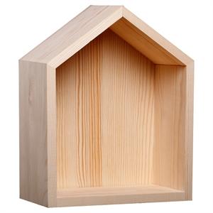 Hand Made Modern Wood Shadow Box - House, Natural