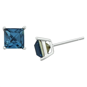 Women's Sterling Silver Square Stud - Blue (6mm)