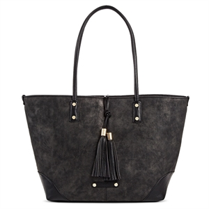 A+ Women's Faux Leather Tote Handbag with Tassel and Zip Closure - Black